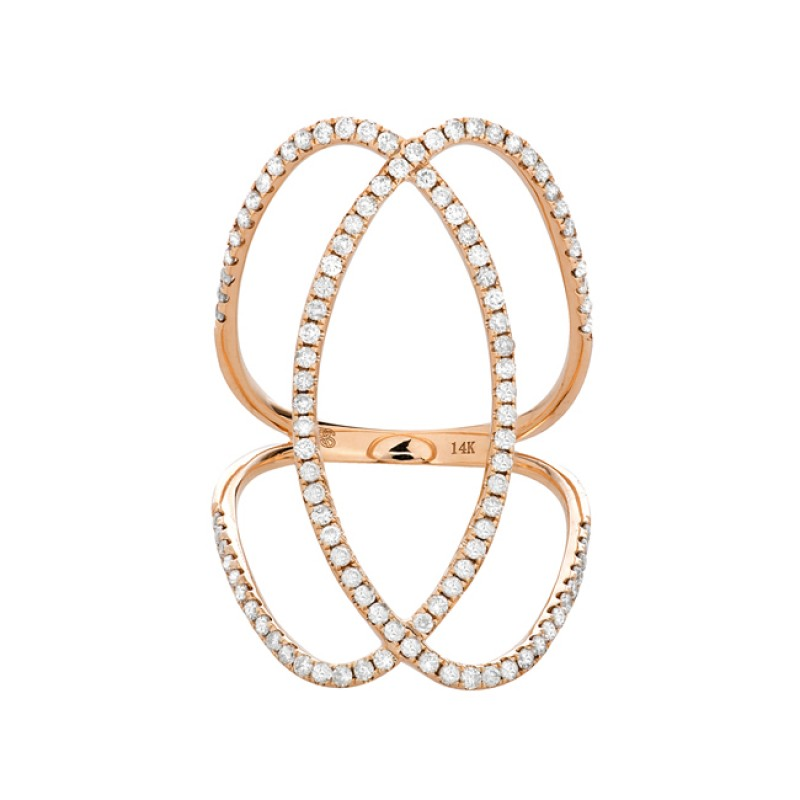 14k Rose Gold Diamond Infinity Circle Ring