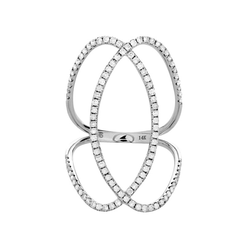 14k White Gold Diamond Infinity Circle Ring