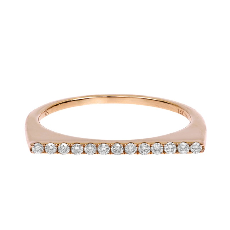 14k Rose Gold Diamond Stackable Bar Ring