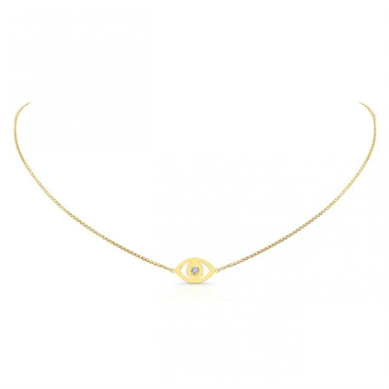 14k Yellow Gold Diamond Bezel Evil Eye Necklace