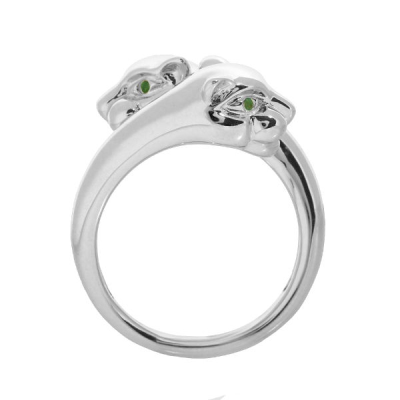 14k White Gold Emerald Panther Ring