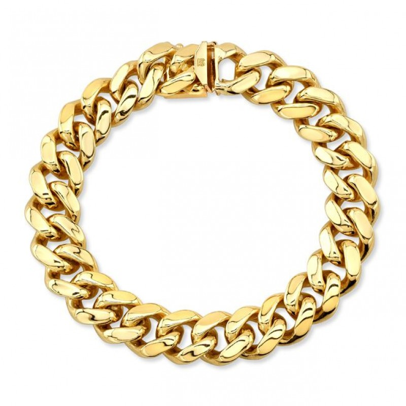 14k Yellow Solid Gold Cuban Link Bracelet