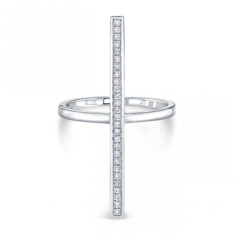 14k White Gold Diamond Long Bar Ring