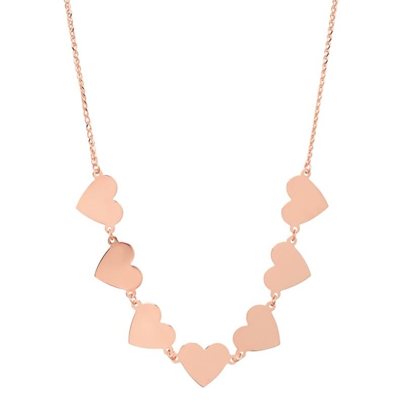 14k Rose Gold 7 Floating Heart Necklace