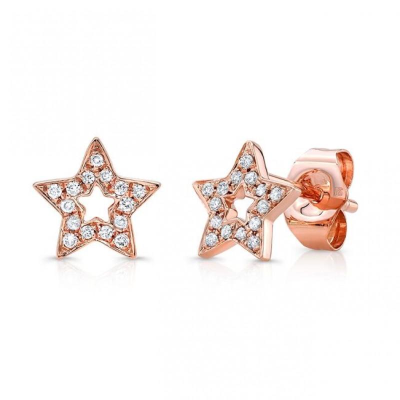 14k Rose Gold Diamond Cut Out Star Stud Earrings