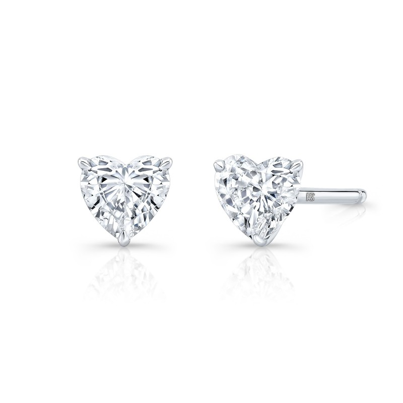 14k White Gold Floating Heart Cut Diamond Stud