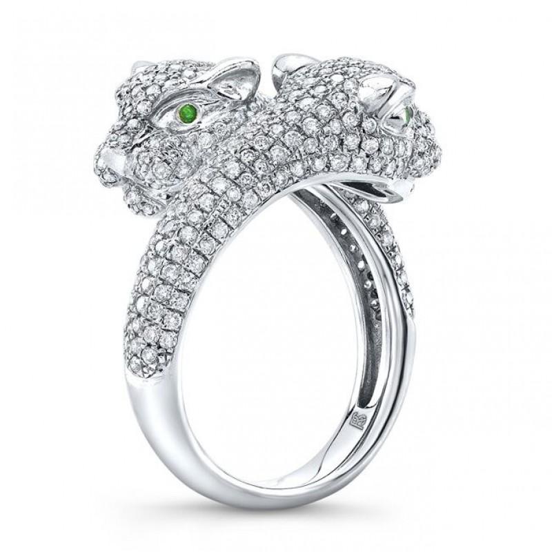 14k White Gold Diamond Emerald Panther Ring