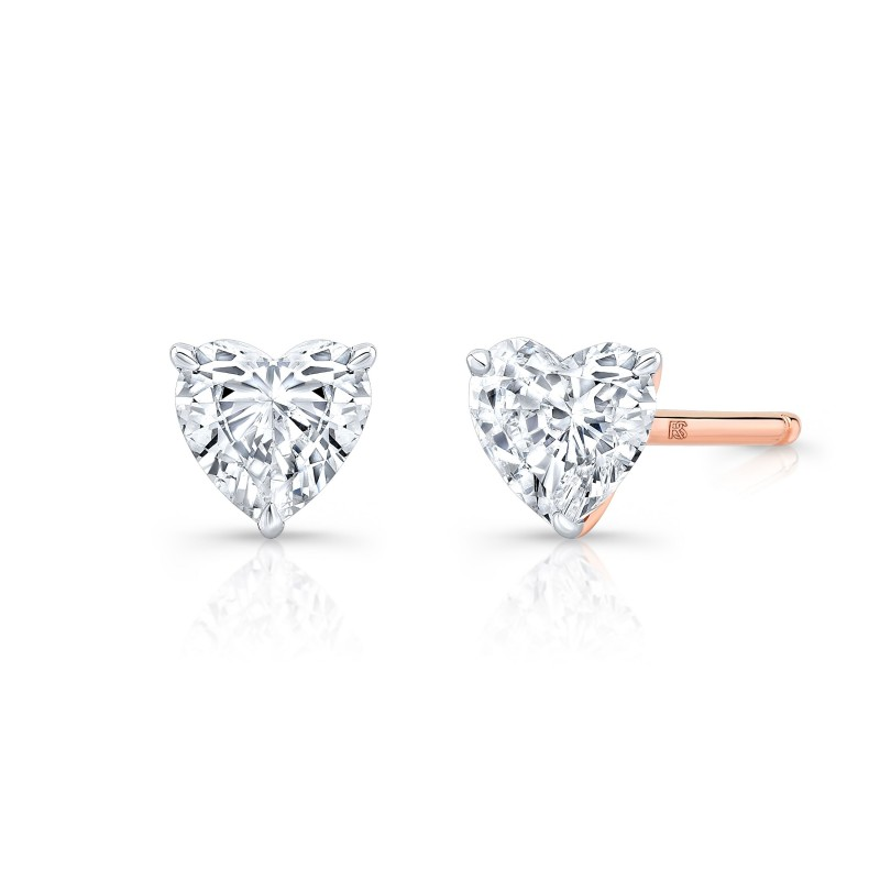 14k Rose Gold Floating Heart Cut Diamond Stud