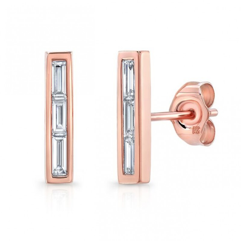 14k Rose Gold Diamond Baguette Bar Stud Earrings