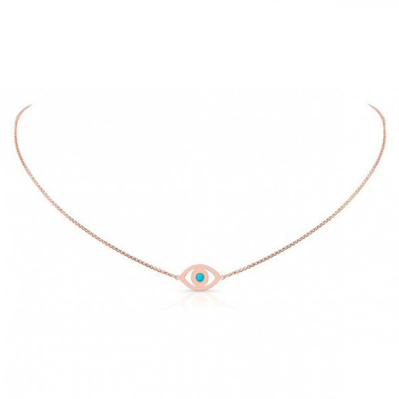 14k Rose Gold Turquoise Bezel Evil Eye Necklace