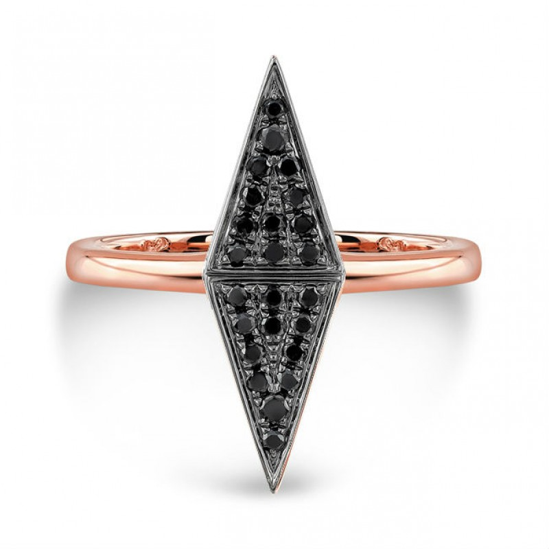 14k Rose Gold Black Diamond Double Triangle Ring