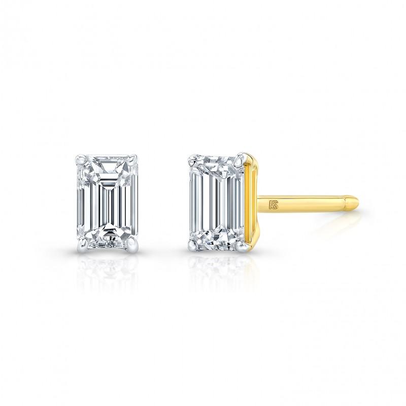 14k Yellow Gold Floating Emerald Cut Diamond Stud