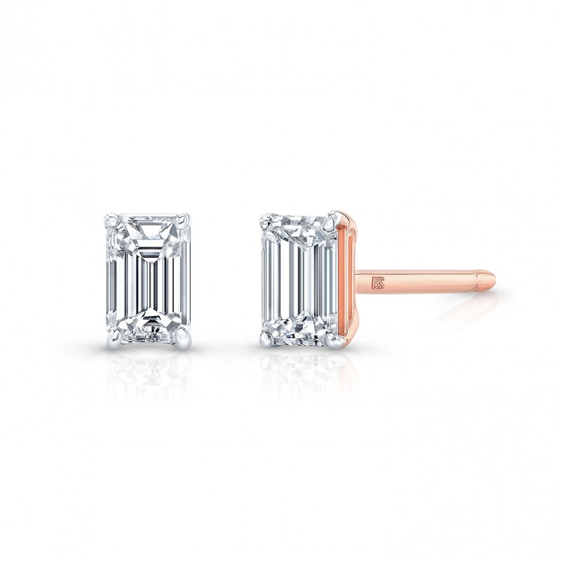 14k Rose Gold Floating Emerald Cut Diamond Stud