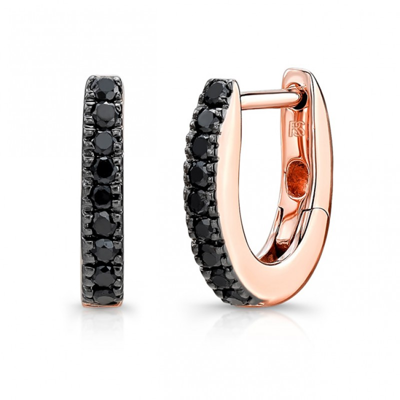 14K Gold Black Diamond Huggie Hoops With Security Latch