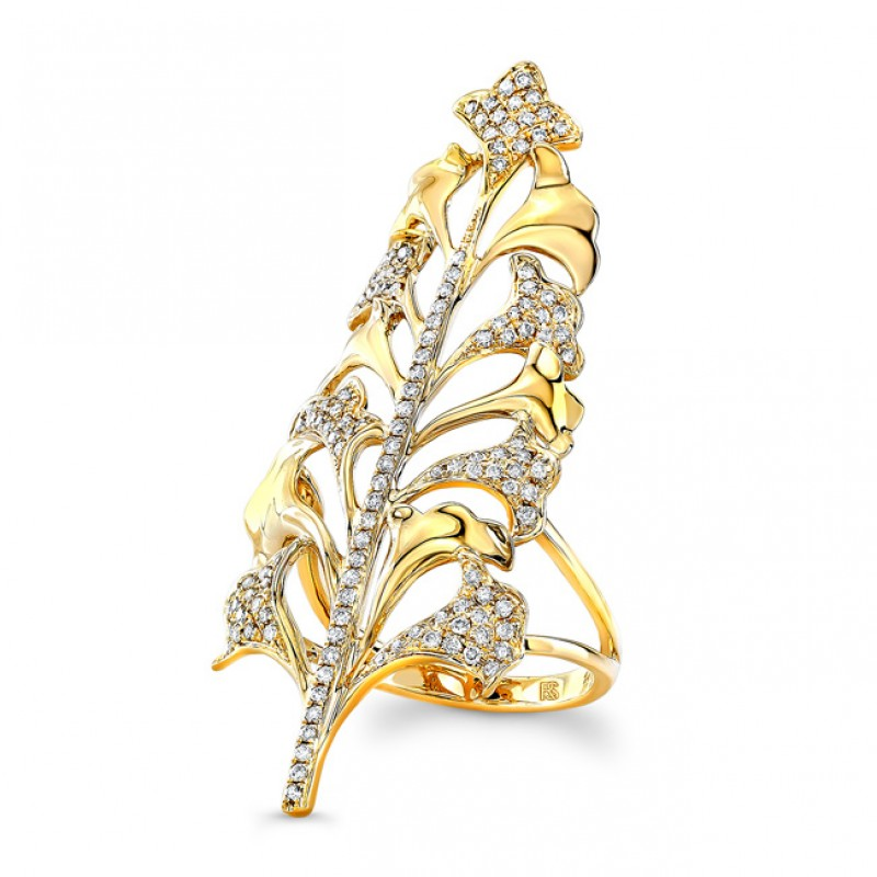 14K Yellow Gold Diamond Tree Ring