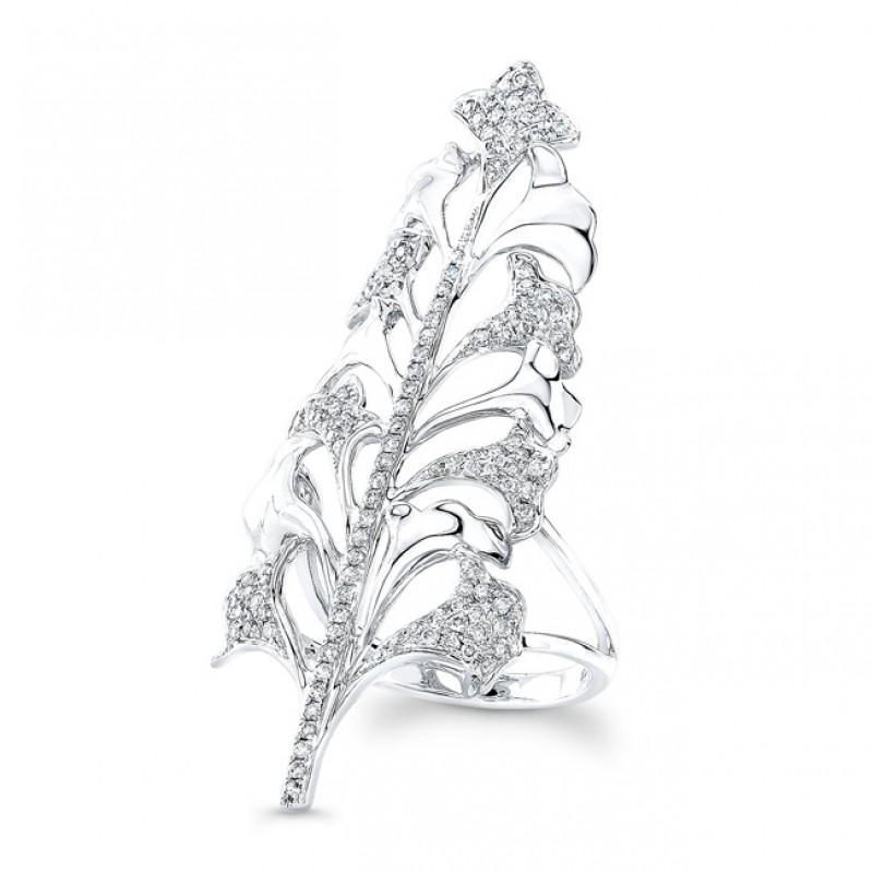 14K White Gold Diamond Tree Ring