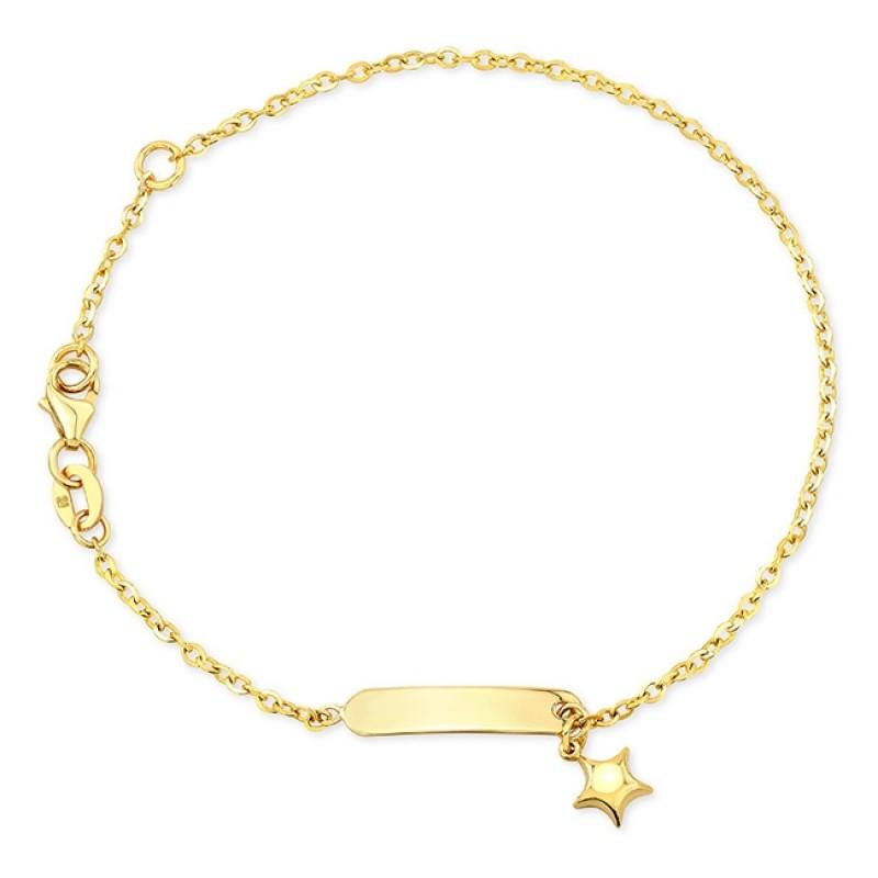14k Yellow Gold Mini Nameplate Star Bracelet