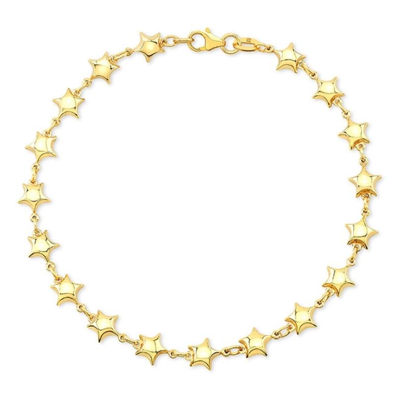 Kids' 14k Yellow Gold Endless Puffed Star Bracelet