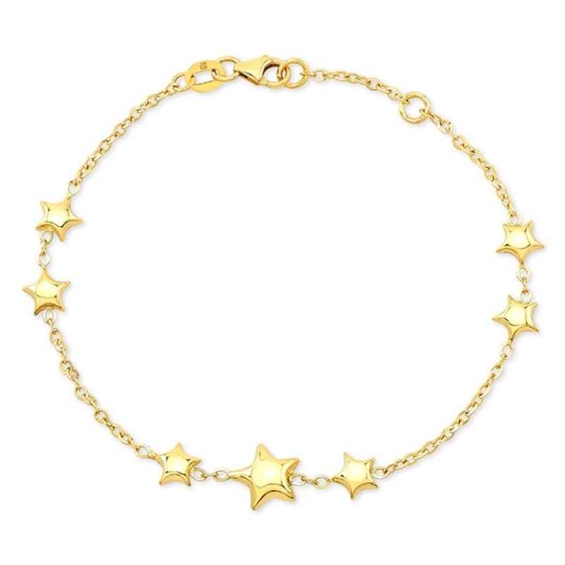 14k Yellow Gold 7 Puffed Star Bracelet