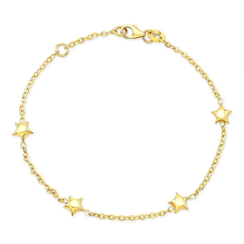 14k Yellow Gold Puffed Star Bracelet
