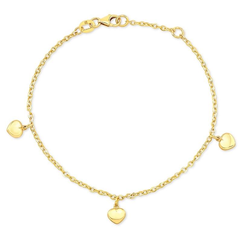 14k Yellow Gold Puffed Heart Charm Bracelet