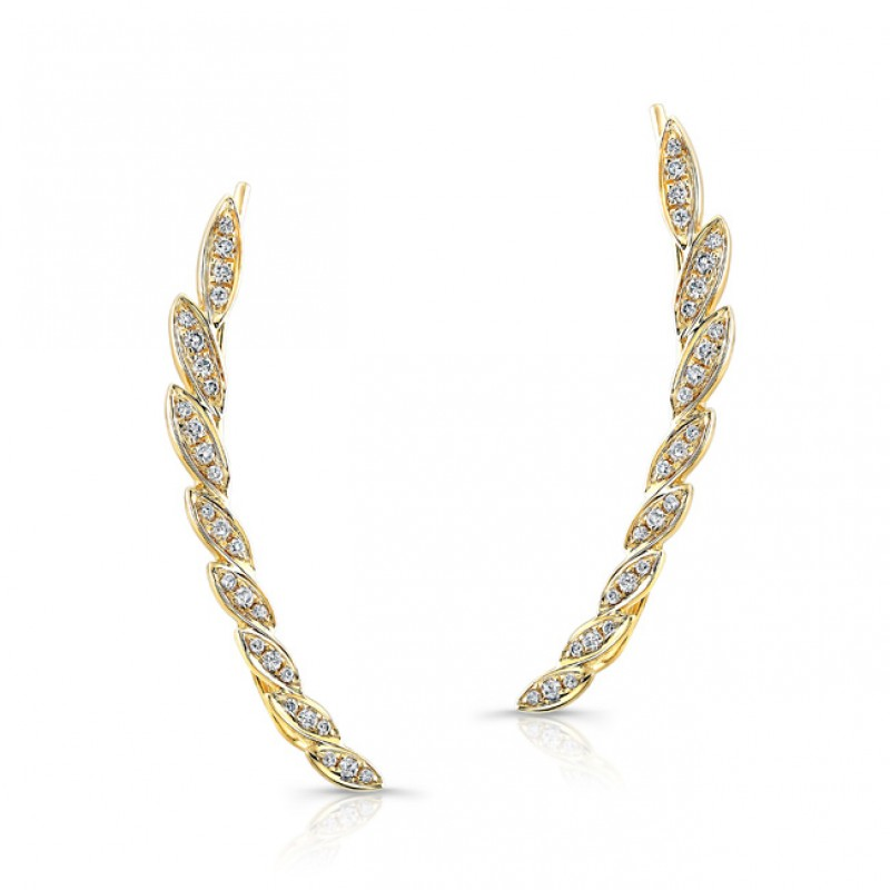 14k Yellow Gold Diamond Leaf Ear Crawler Earring