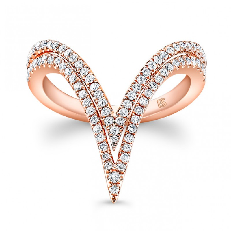 14k Rose Gold Diamond Curved Double V Ring