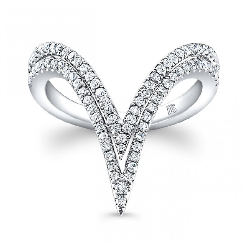 14k White Gold Diamond Curved Double V Ring
