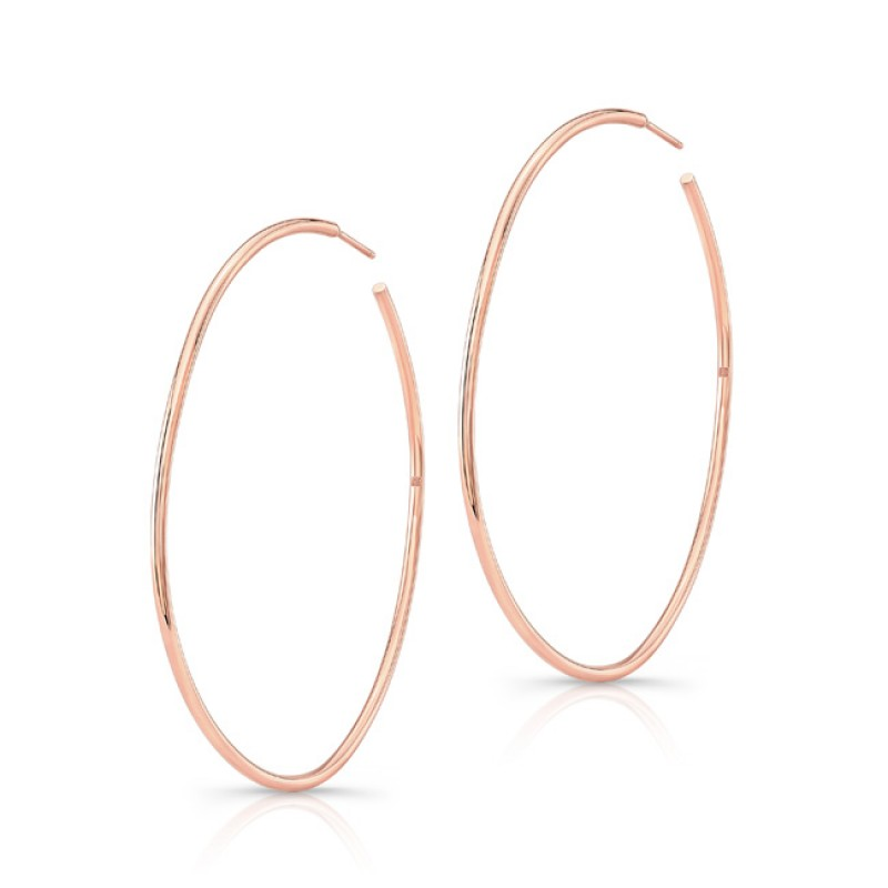 "14K Rose Gold 2"" Hoop Earrings"
