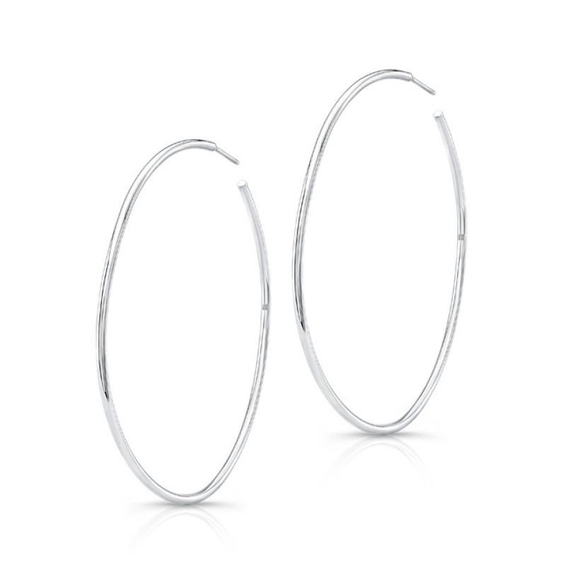"""14K White Gold 2"""" Hoop Earrings"""