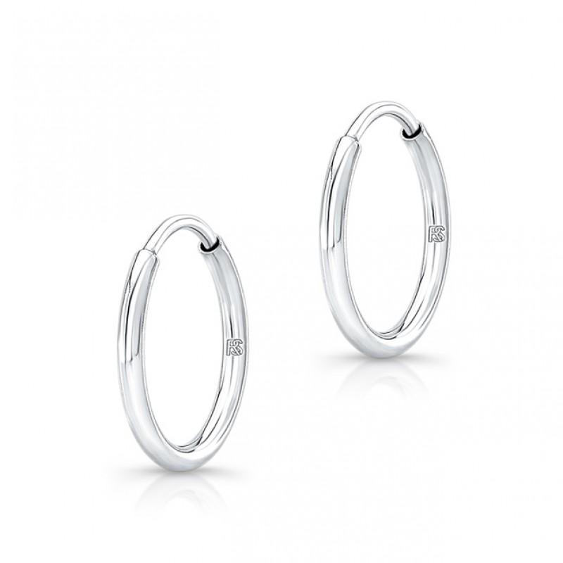 14K White Gold 12mm Comfy Hoop Earrings