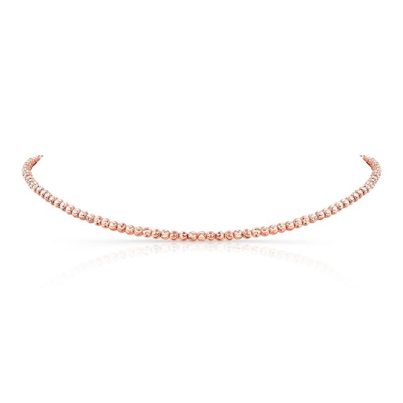 14k Rose Gold Diamond Cut Bead Choker