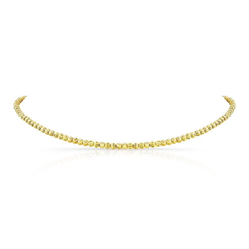 14k Kids Yellow Gold Diamond Cut Bead Choker
