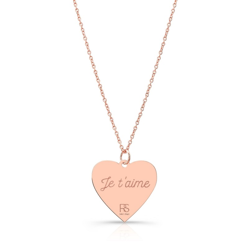 14k Rose Gold Jumbo Heart Necklace
