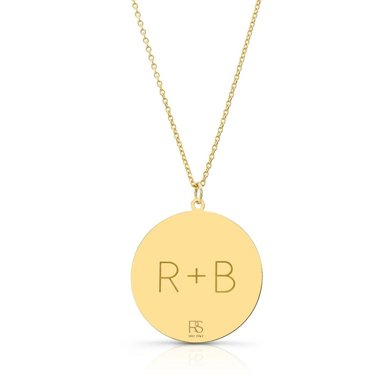14k Yellow Gold Jumbo Disc Necklace