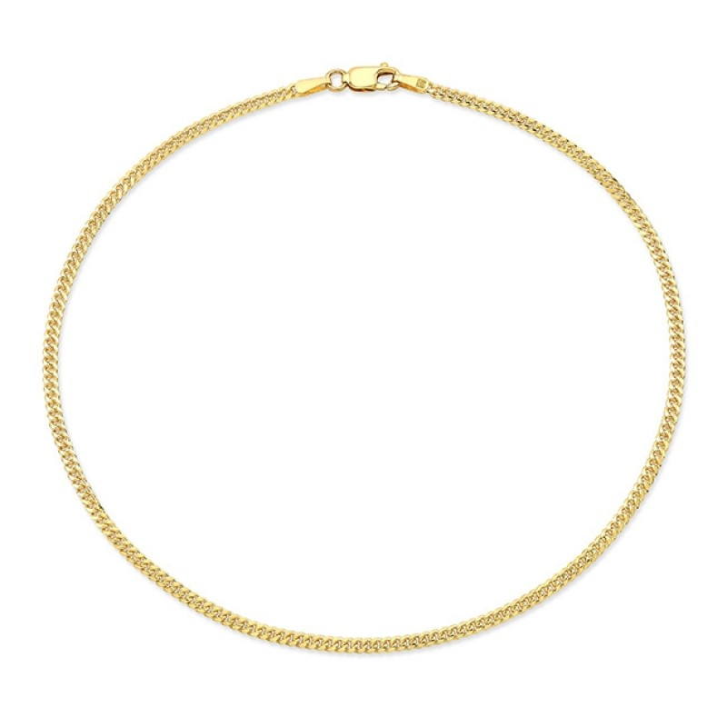 14k Yellow Gold Mini Cuban Link Anklet