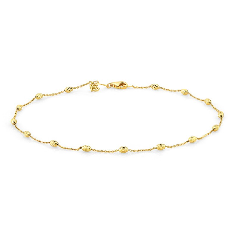 14k Yellow Gold Diamond Cut Beaded Chain Anklet