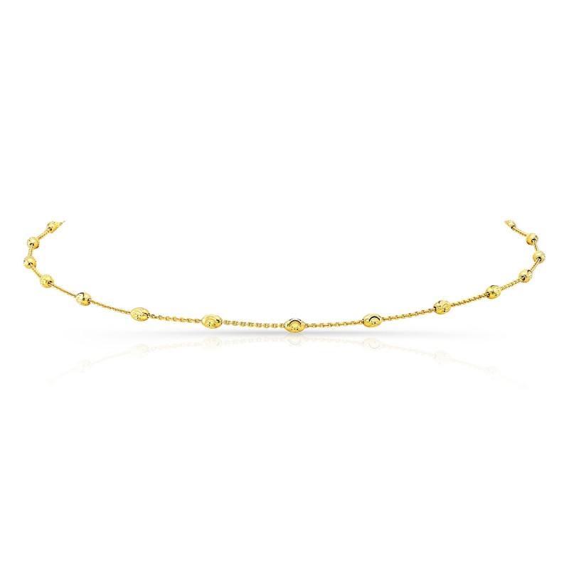 14k Yellow Gold Diamond Cut Beaded Chain Necklace