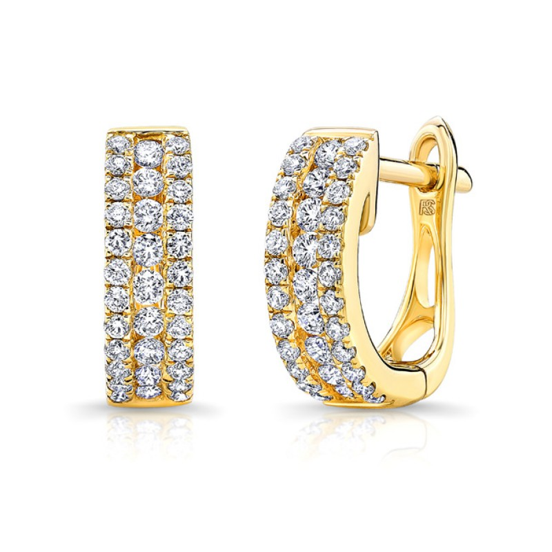 14k Yellow Gold Diamond Channel Set Huggie Hoops