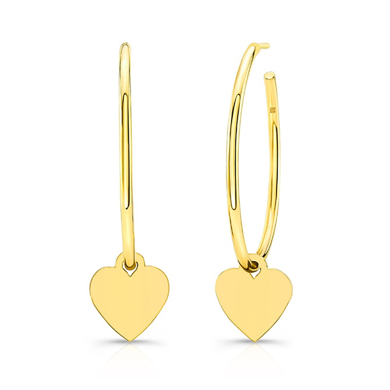 14k Yellow Gold Floating Heart Hoop Charms