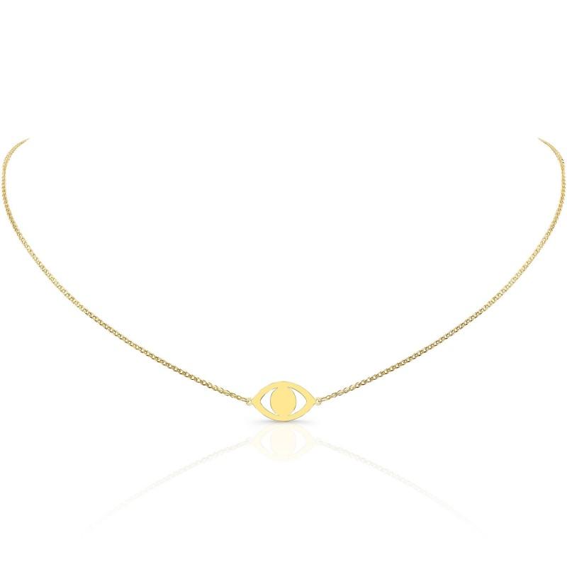 Kids' 14k Yellow Gold Evil Eye Necklace