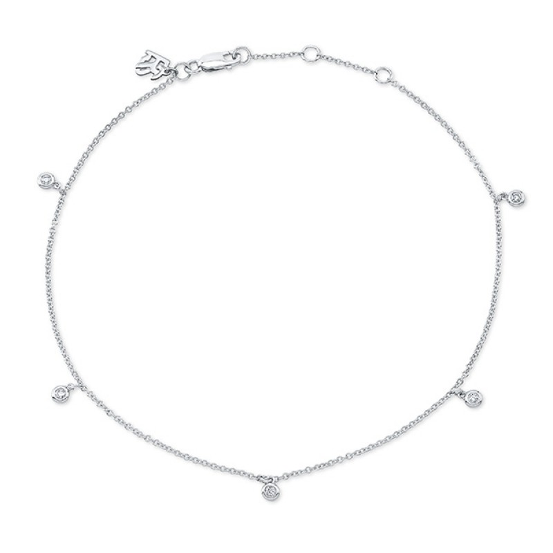 14k White Gold 5 Bezel Diamond Anklet