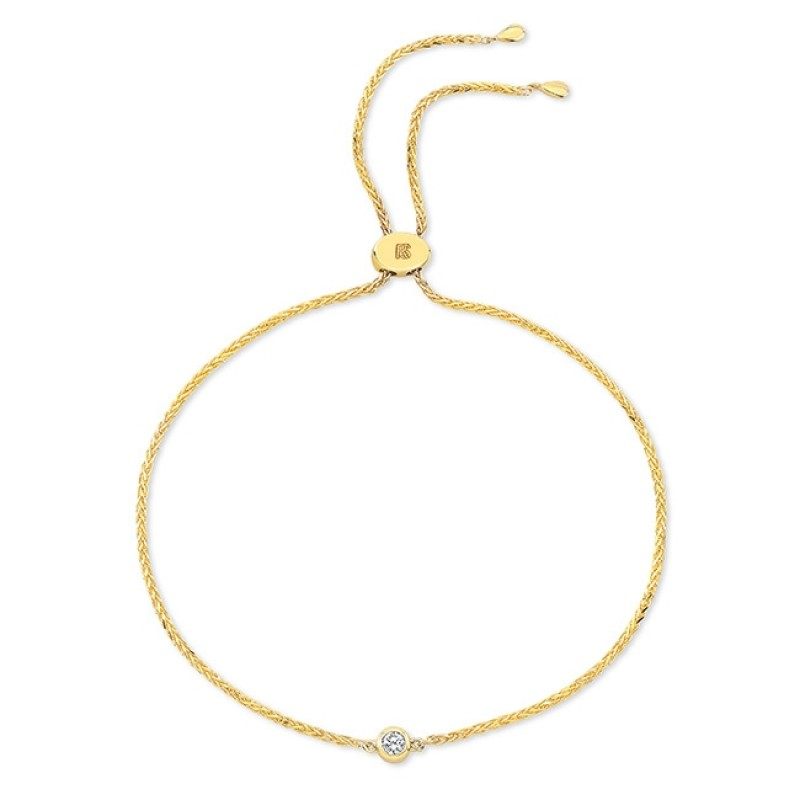 14k Yellow Gold 1 Bezel Diamond Bolo Bracelet