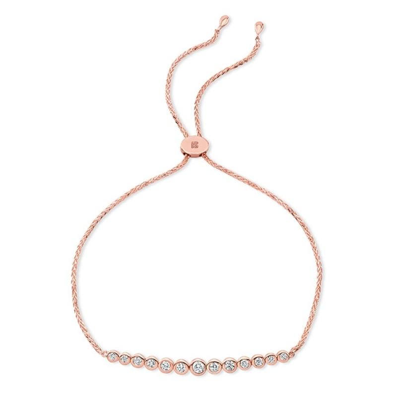14k Rose Gold Bezel Diamond Bolo Bracelet