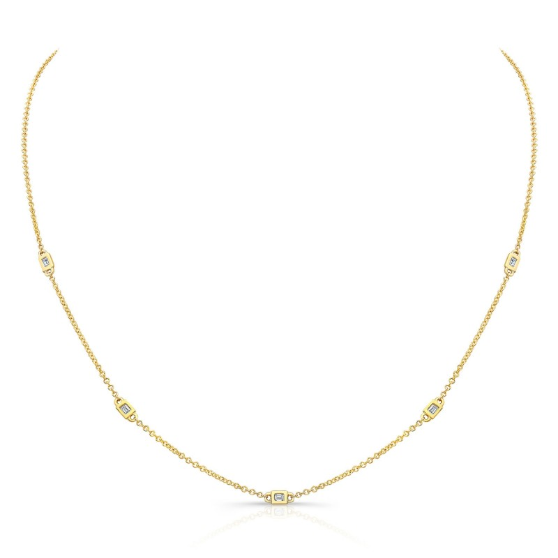 14k Yellow Gold 5 Bezel Baguette Diamond Necklace