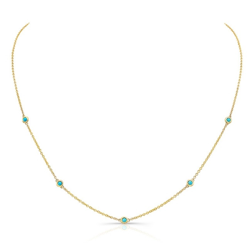 14k Yellow Gold 5 Bezel Turquoise Necklace