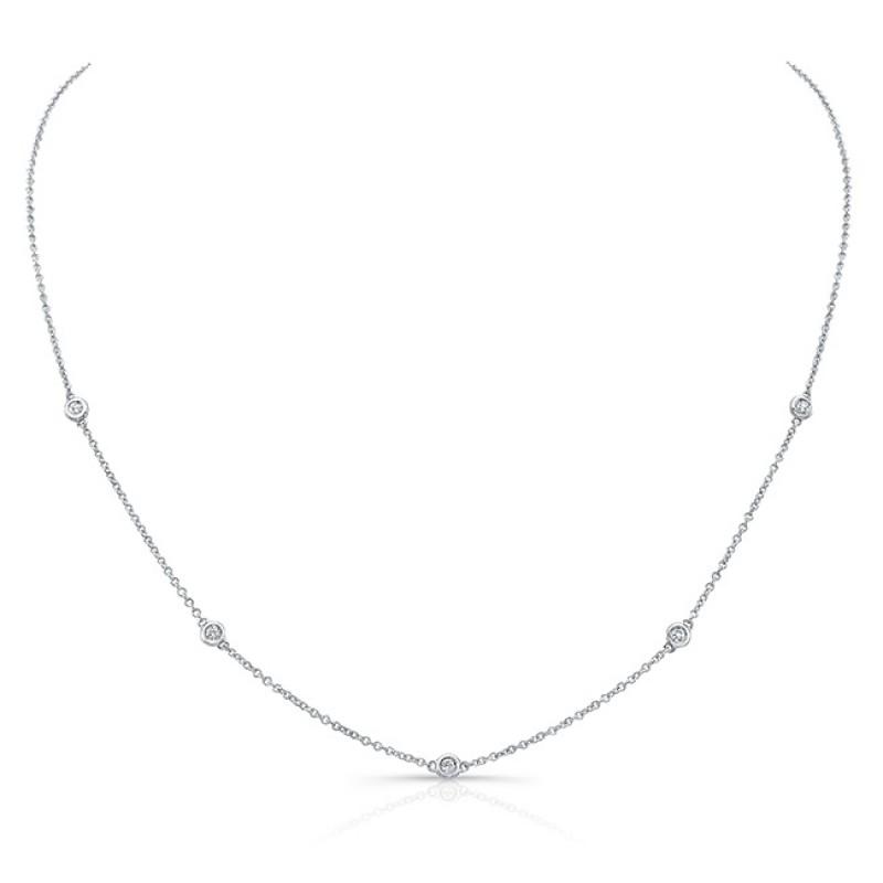 14k White Gold 5 Bezel Diamond Necklace