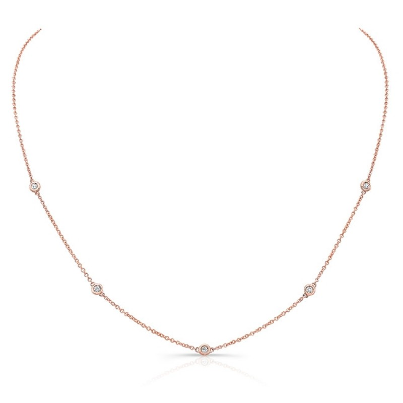 14k Rose Gold 5 Bezel Diamond Necklace