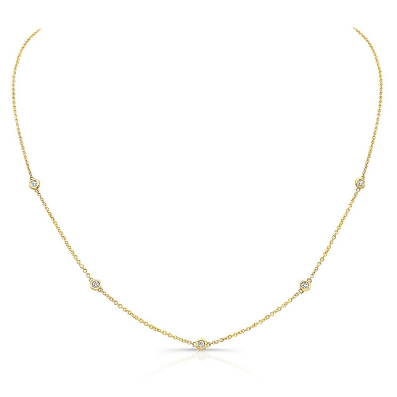 14k Yellow Gold 5 Bezel Diamond Necklace