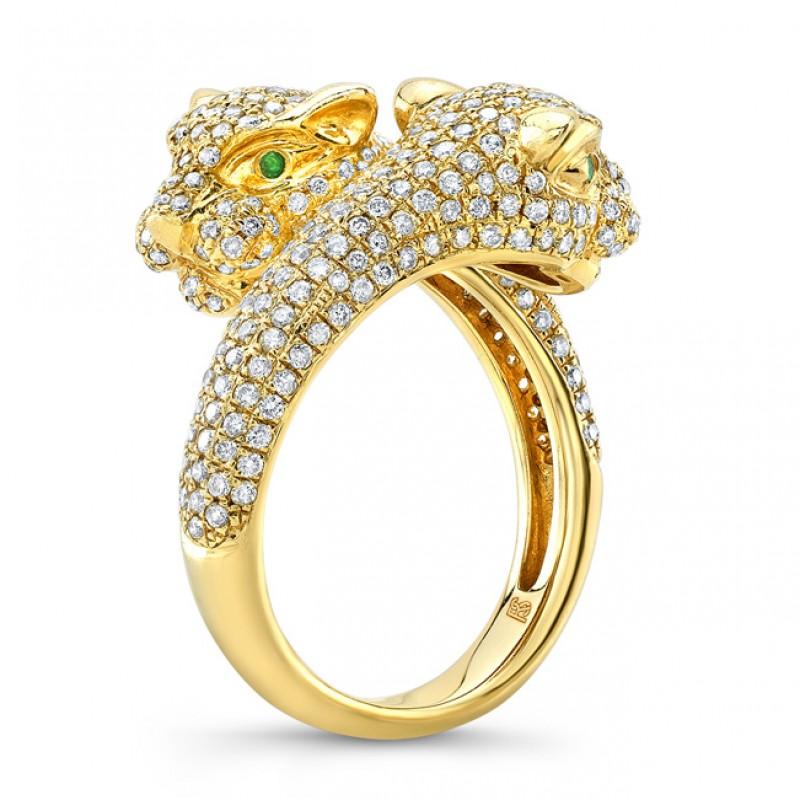 efae8c469deb8 14k Yellow Gold Diamond Emerald Panther Ring
